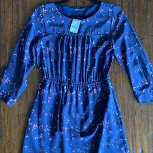 Madewell Navy Blue Patterned Dress NWT